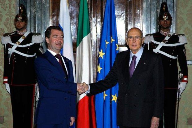 Dmitry Medvedev incontra Giorgio Napolitano
