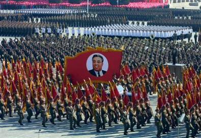 Una manifestazione in Corea del Nord