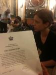 Vera Politkovskaja con la cittadinanza onoraria di Genova