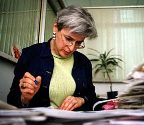 Anna Politkovskaja in redazione