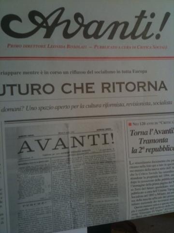 La prima pagina dell'Avanti!