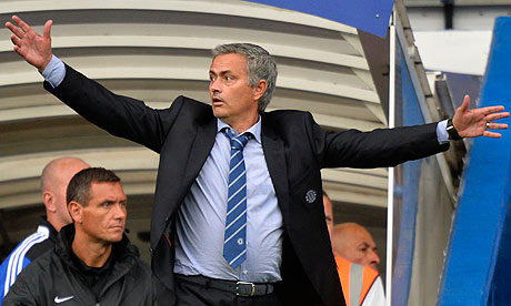 Jose Mourinho reacts during their English Premier League soccer match against Hull City in London