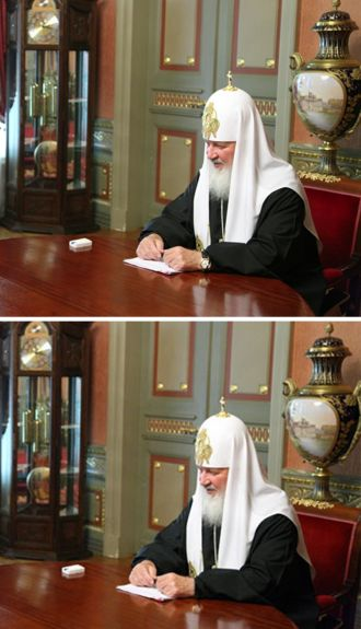 Patriarca-Kirill con l'ombra di un orologio